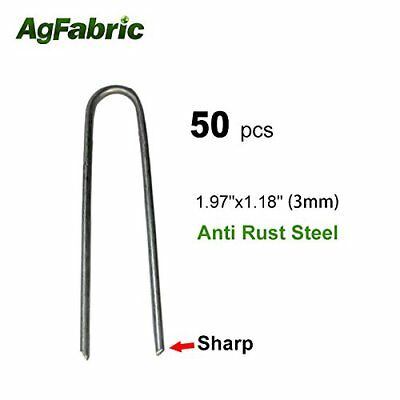 Agfabric Landscape Staples Fabric Garden Heavy Duty Stake Weed Barrier Pin,50PCS