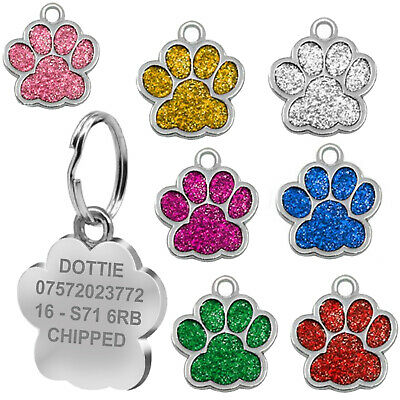 Engraved Pet ID Tag Personalised Cat Dog Charm Collar Animal Paw Kitten Puppy UK