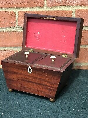 Georgian Mahogany Sarcophagus Shape Tea Caddy On Brass Bun Feet