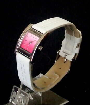 Beautiful Ladies Silver Tone Watch With White Stitched Strap
