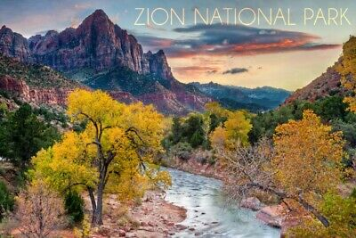 Zion National Park UT Watchman as Virgin River (Art Prints, Signs, Canvas, More)