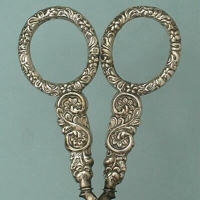 Ornate Antique Sterling Silver Scissors * English * Circa 1840