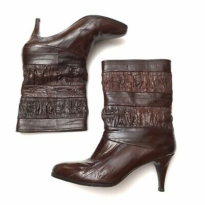Vintage 1980s Womens Dark Brown Eel Skin Leather Pointy Heeled Ankle Boots Sz 7