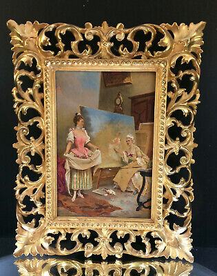 French Portrait Studio--Oil on Board-Lovely Gilt Frame--19th Century--BUY IT NOW
