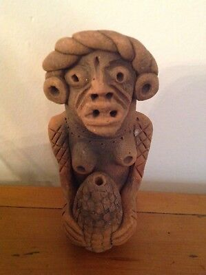 "Vintage Pre-Columbian Mayan Aztec Mexican Pottery / Clay Figure 7"" Tall"