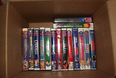 Walt Disney VHS Tapes Classics Masterpieces Lot of 30 in Clamshell Cases + BONUS