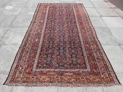 Fine Antique Hand Made Traditional Rug Oriental Wool Red Long Rug 298x158cm