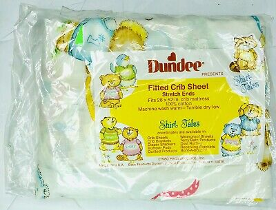 Vintage Dundee Shirt Tales Baby Crib  Fitted Sheet Material Fabric Animals NOS