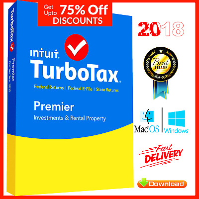 TurboTax 2018 Premier Windows and Mac Licensed 5 Users Federal State Return Tax