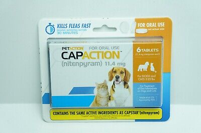 Pet Action CapAction Nitenpyram 11.4mg 6 Tablets Dogs And Cats 2-25 Lbs EXP 2021