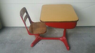 Vintage Child's School Desk With Chair Wood And Metal American Seating Co.
