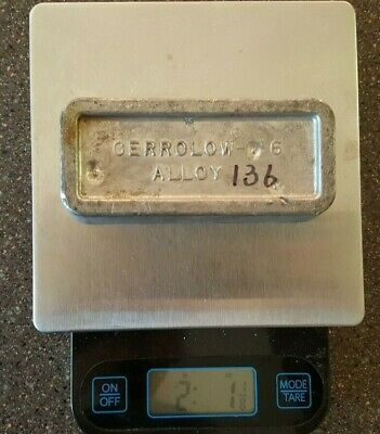 136°F Low Melt Fusible Casting Alloy, 2lbs Ingot Cerrolow Indium