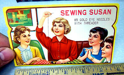 Vintage Sewing Susan Sewing Needle Book, NEW unused, retro graphics & colors