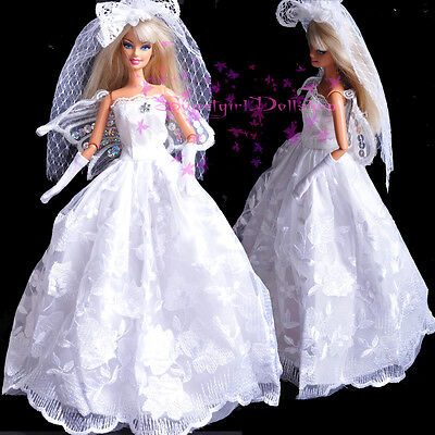 Nice Limited Edition white Wedding Dress&Grown for 1/6(11.5Inch) BJD Doll
