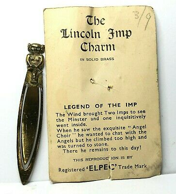 Vintage Elpe Brass Lincoln Imp Brass bookmark  6 cm's Fantasy Myth Magic