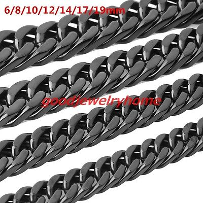 "High Quality 7-40"" Black 316L  Stainless Steel Men's Cuban Chain Necklace 6-19MM"