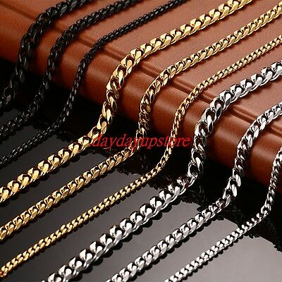 3~19mm MENS Boys Chain Silver Tone Curb Link Stainless Steel Necklace 14-45/'/'