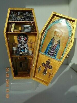 Wooden Coffin size 30cm Religious Themed. OOAK