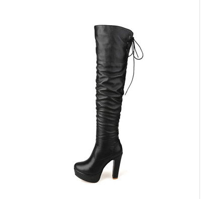 Womens Sexy NightClub Over the Knee Boots Pleated Platform Block High Heels Size