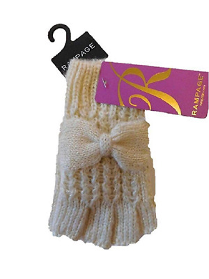 Rampage Womens Metallic Fingerless Texting Gloves Ivory, One Size, Retail $28.00