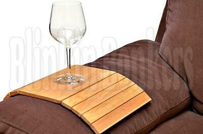 Flexible Wooden Sofa Settee Arm Chair Tray Plate Glass Cup Serving Tray Arm Rest