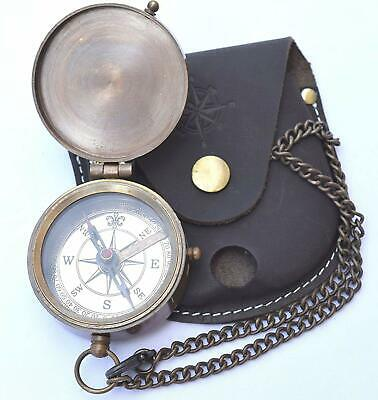 Engravable Compass Pocket Compass Brass Compass with Leather Carry Case