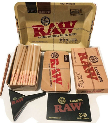 RAW LEAN Cones (15 COUNT) With TIN + Raw 1 1/4 Size CONE LOADER  + Raw Mini Tray