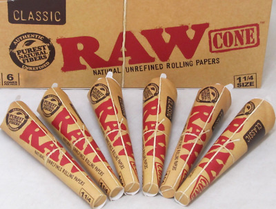 "RAW Classic Pre-Rolled Cones 1 1/4"" Rolling Papers Cones (6 PACKS / 36 CONES)✓✓✓"