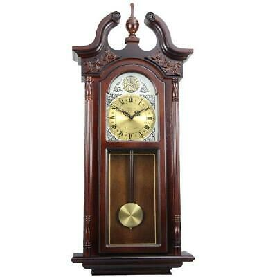 "38"" Grand Antique Chiming Wall Clock Pendulum Westminster Wood Chimes Cherry Oak"