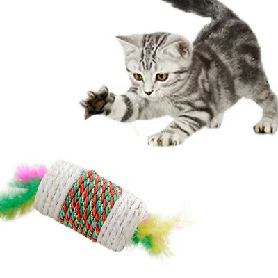 Cat Pet Sisal Rope Pounce Chase Feather Ball Kitten Play Scratch Rattle Toy J
