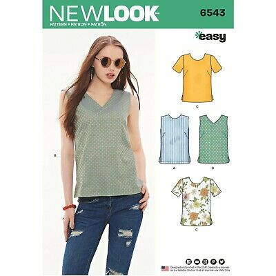 New Look Sewing Pattern 6543 Misses 10-22 Easy Tops Shirts Sleeve Neck Variation