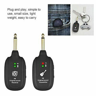 UHF Guitar Wireless System Transmitter Receiver Built-in Rechargeable 730 MHZ