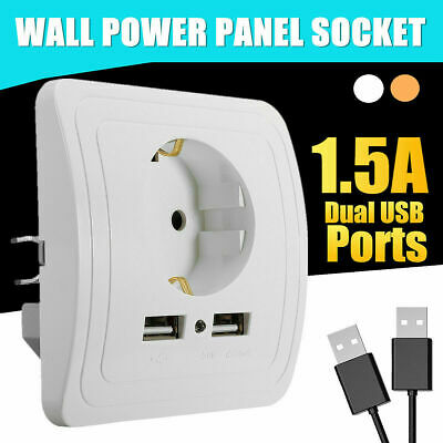 Electric Dual USB Port Wall Charger Adapter Socket Power Outlet Panel EU Pl W8H3