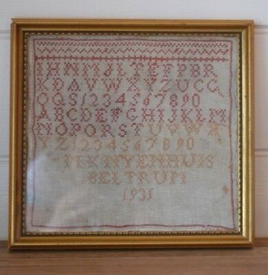 Vintage Art Deco 1931 embroidery alphabet & numbers framed wall hanging