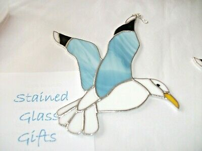 Stained Glass handmade grey and white seagull sun-catcher / window decoration