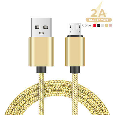 Heavy Duty Braided Micro USB Android Phone Charging Data Sync Cable 1m 2m 3m 2D
