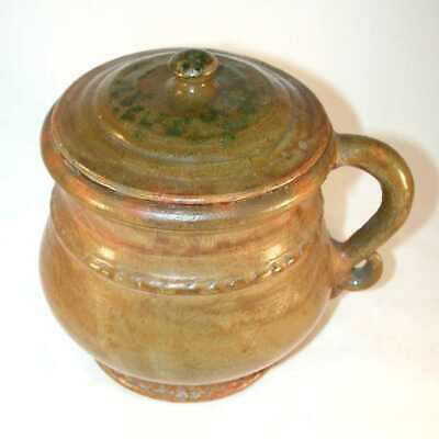 Rare 1937 Isaac Stahl Glazed Redware Green Colored Large Lidded Pot with Handle
