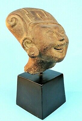 Pre-Columbian Smiling Mayan Head Sculpture Vintage Alva Museum Replica 1965
