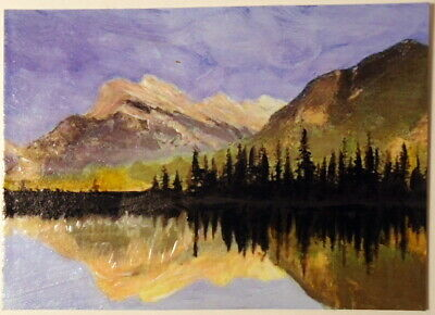 Mountain Lake Reflections ACEO Original Landscape PAINTING by Leslie Popp