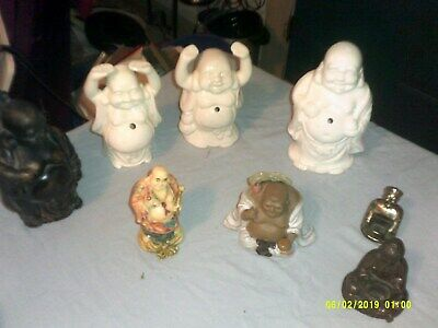 Lot Of 11 Oriental Budda Figures Metal Porcelain Resin Some Incense Burners