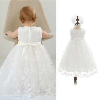 Newborn Baby Girls Christening Gowns Lace Flowers Infant Baptism Dress & Hat NEW