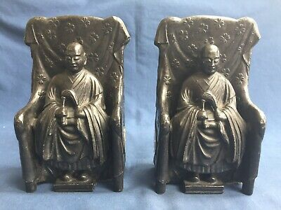Antique Japanese Metal Bookends with Tokugawa Shogunate Emperor & Crest