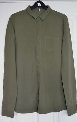 M&S kids boys khaki green cotton button up top/casual shirt age 15-16 years BNWT