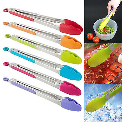 AB_ ALS_ Silicone Cooking Salad Stainless Steel Handle Serving BBQ Tongs Kitchen