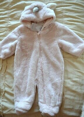 M&S Baby Girls Pink Unicorn fluffy Snowsuit/Pramsuit Up to 1 month 4.5kg BNWT