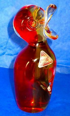 "Murano Art Glass Paper Weight, Hand Blown Red Yellow 6"" Duckling, Signed"