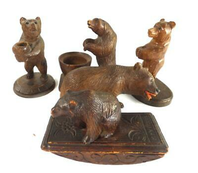 5 Antique & Vintage Black Forest Carved Wood Bear Ornaments