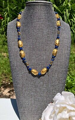 Vintage Egyptian Gold Finish Blue Lapis Lazuli Scarab Necklace 18""