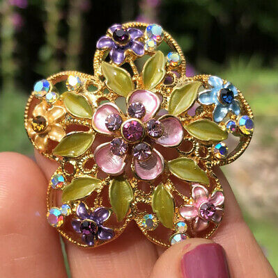 Beautiful Gold Tone Filigree Multi Color Enamel Flower W/ Rhinestones Pin Brooch