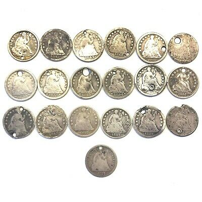 Lot of 19 1838-1872 H10C Seated Liberty Half Dimes: Holed